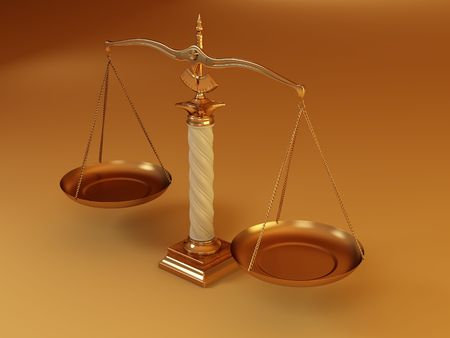 Symbol of justice. Scale. 3d Stock Photo - 6589180