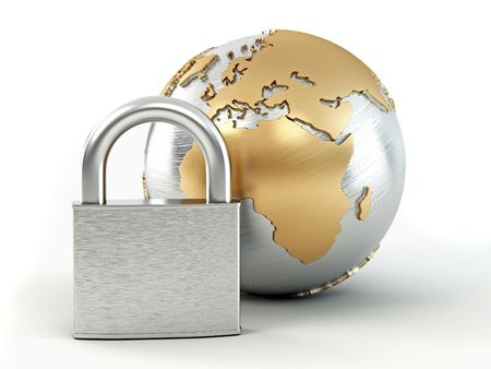 protection symbol: Earth with padlock. 3d