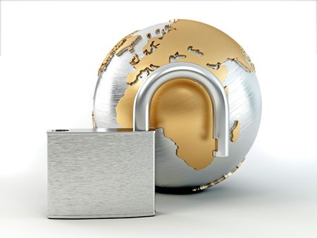 digitally generated image: Earth with padlock. 3d