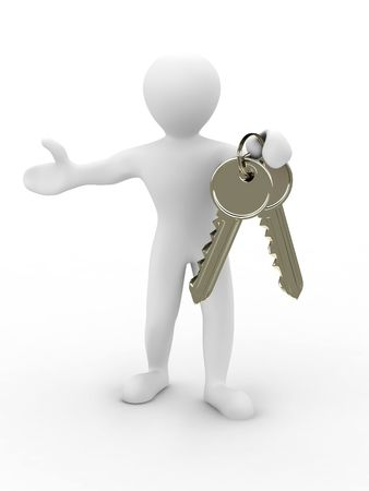 Men with keys. 3d Stock Photo - 6589157