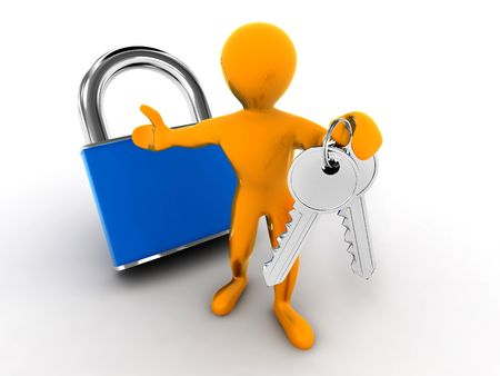 Men with keys and lock. 3d Stock Photo - 6589177