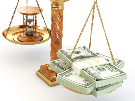 time pressure: Time is money. Money and hourglass on scale.3d Stock Photo