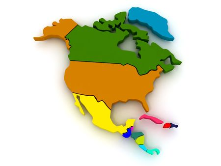 americas: Map of northern america. 3d