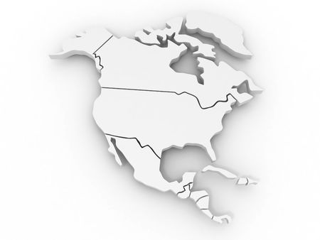 geographical locations: Map of northern america. 3d