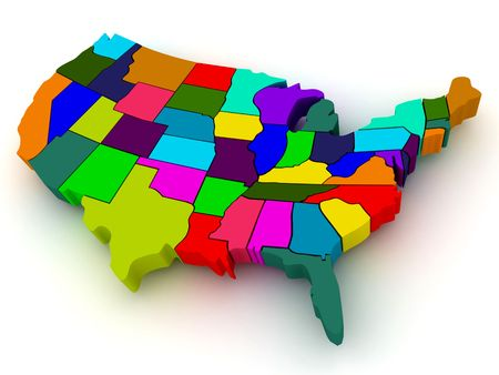 Map of USA. 3d photo