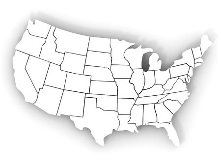 alabama state: Map of USA. 3d