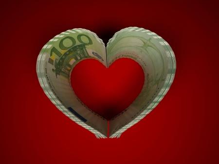 Money. Heart. 3d Stock Photo - 6842514