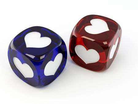 red dice: Cubes with heart. 3d Stock Photo