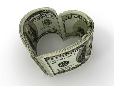 Geld. Herzen. 3D  Standard-Bild