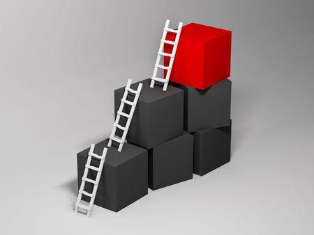 Cubos con escaleras. 3D  Foto de archivo - 7053366