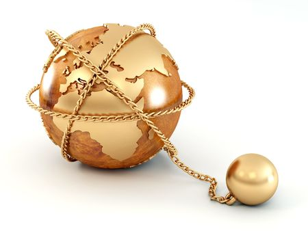 imperialism: Earth with chain. 3d Stock Photo