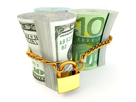 commercial activity: Dollar, euro, ruble on lock. 3d Stock Photo