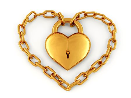 Chain with lock as heart. 3d Stock Photo - 7053406