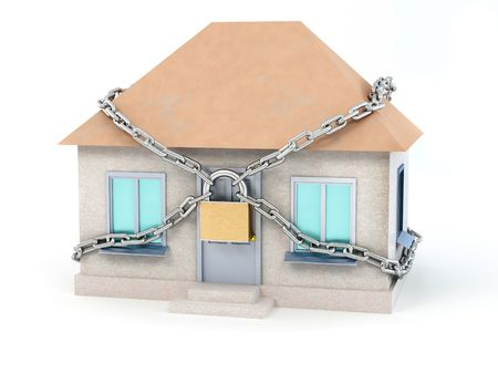 Home, chain and padlock. 3d Stock Photo - 7053411
