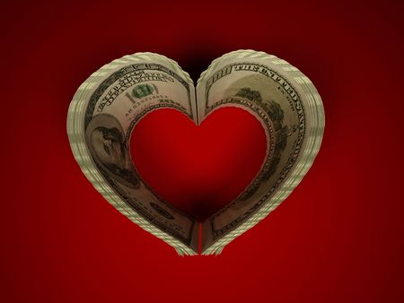 Money. Heart. 3d photo