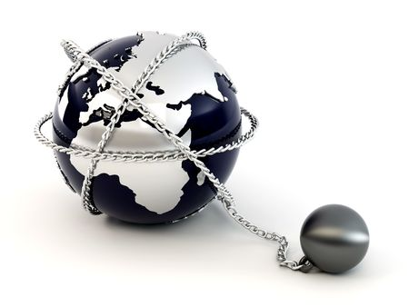 terrorists: Earth with chain. 3d Stock Photo