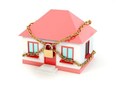 Home, chain and padlock. 3d Stock Photo - 7151997