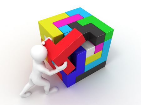 cube puzzle: Men with a cube built from blocks. Puzzle. 3d