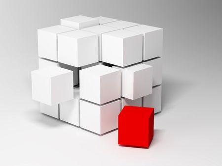 adentro y afuera: Cubos. Fondo abstracto. 3D