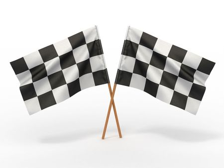 Finishing checkered flag. 3d  Stock Photo - 7183884