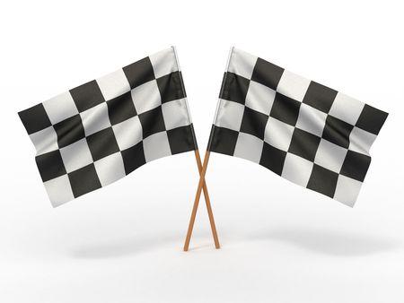 Finishing checkered flag. 3d Stock Photo - 7183884