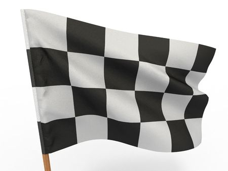 Finishing checkered flag. 3d Stock Photo - 7183907