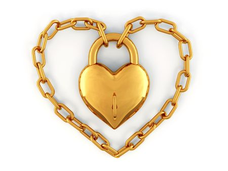 Chain with lock as heart. 3d photo