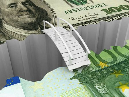 bridge between euro and dollar. 3d photo