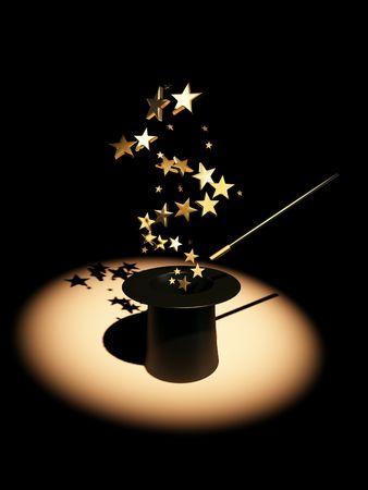 sombrero de mago: Estrellas de sombrero. 3D  Foto de archivo