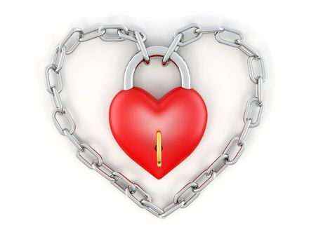 Chain with lock as heart. 3d Stock Photo - 7295555