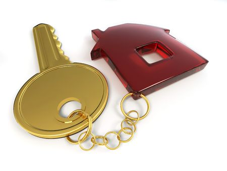Key with home. 3d Stock Photo - 7295547