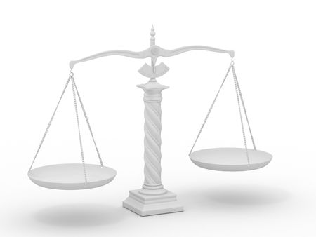systems thinking: Symbol of justice. Scale. 3d