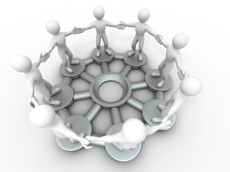 Group of people. Conceptual image of communications or teamwork. 3d Stock Photo - 7320910