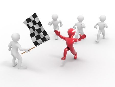 Men with checkered flag. 3d  photo