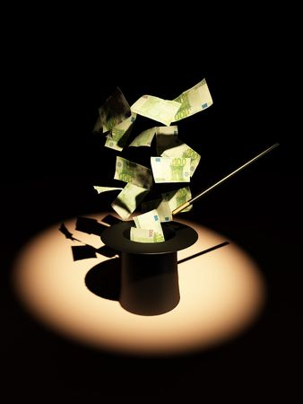wizardry: Money from nowhere. magic. 3d