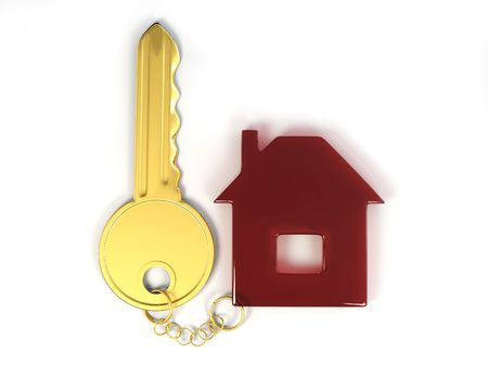 Key with home. 3d Stock Photo - 7320930