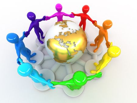 Group of people around of earth. 3d photo