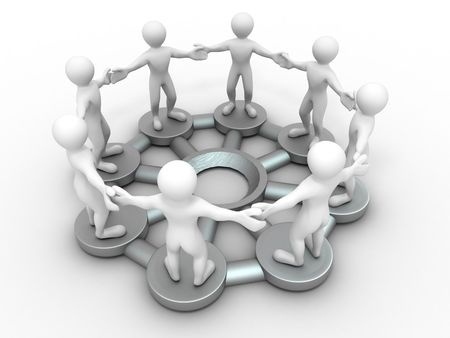 Group of people. Conceptual image of communications or teamwork. 3d Stock Photo - 7376876