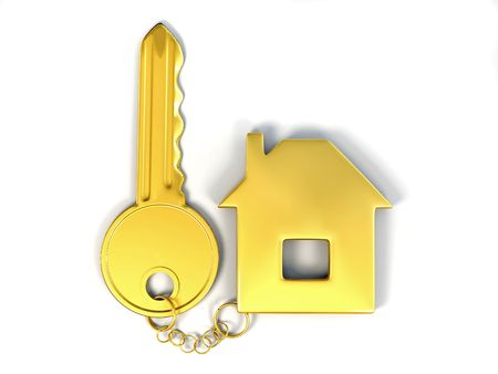 Key with home. 3d Stock Photo - 7376863