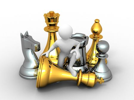 3d chess board: Men with chess. 3d
