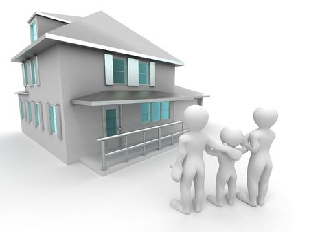 Family with house. 3d photo
