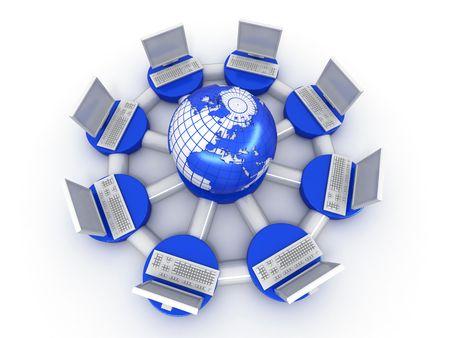 Conceptual image of internet. 3d Stock Photo - 7442699