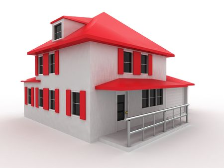 Model of house. 3d Stock Photo - 7442685