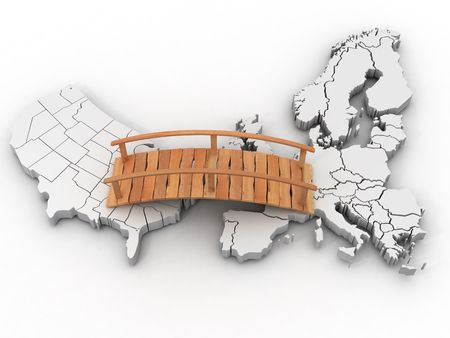 european community: Bridge between europe and usa. 3d Stock Photo