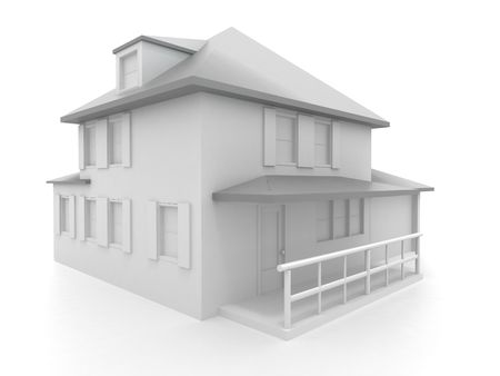 Model of house. 3d Stock Photo - 7442718