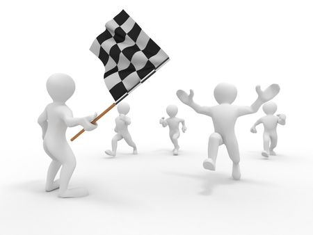 loss leader: Men with checkered flag. 3d