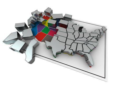Puzzle build USA. 3d photo