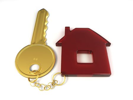 Key with home. 3d Stock Photo - 7442750