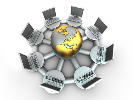 Conceptual image of internet. 3d Stock Photo - 7503706