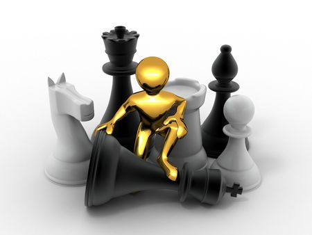 Men with chess. 3d photo